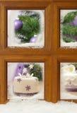 frostigt fönster för cakejul Fotografering för Bildbyråer