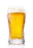Frostigt halv literexponeringsglas av öl arkivbilder