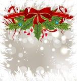 Frostigt kort för jul med feriegarneringen vektor illustrationer