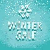 Frostigt kort för vinterförsäljningsblått stock illustrationer