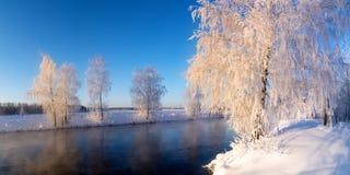 Frostigt vintermorgonlandskap med mist- och skogfloden, Ryssland, Ural royaltyfri fotografi
