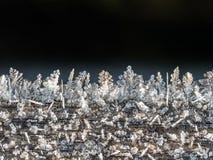 Frostkristaller på träyttersida fotografering för bildbyråer