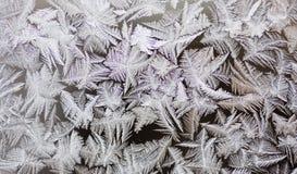 Frostwork del invierno sobre el vidrio de ventana Foto de archivo libre de regalías