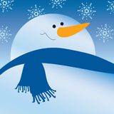Frosty. The Snowman with scarf in the snow Royalty Free Stock Images
