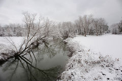 Frosty Afternoon. The Normans Kill Creek separates anew blanket of snow on the outskirts of Rotterdam, New York Royalty Free Stock Photography
