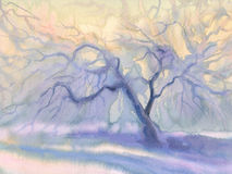 Frosty apple tree bright blue. Winter landscape watercolor background. Winter blue landscape with trees and snow Stock Photos
