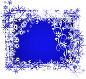 Frosty background. Blue color with snowflakes Stock Photography