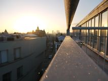 Frosty balcony with a view. Frosty balcony early morning in camden overlooking london at sunrise Royalty Free Stock Image