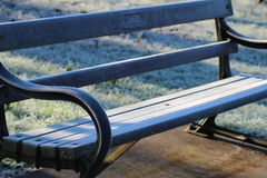 Frosty Bench. Picture of a frosty bench Royalty Free Stock Photo