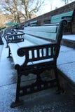 Frosty Benches Outside im Winter stockbilder