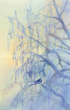 Frosty birch watercolor. Winter landscape watercolor background. Winter blue landscape with frosty birch Royalty Free Stock Image