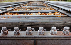 Frosty bolts. Of a railroad switch on a cold autumn morning Royalty Free Stock Image