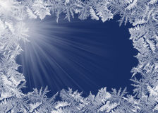Frosty border on blue Royalty Free Stock Photography