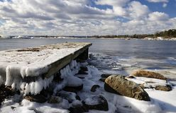 Frosty bridge on Baltic coast Royalty Free Stock Images