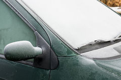 Frosty Car. Frost and ice on a car window and mirror Stock Images