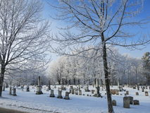 Frosty cemetary Royalty Free Stock Image