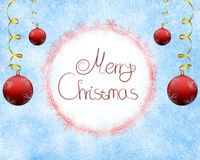 Frosty christmas background with title. Frosty winter background with Merry Christmas title stock illustration