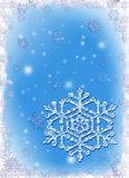 Frosty Christmas frame with snowflakes Stock Photos