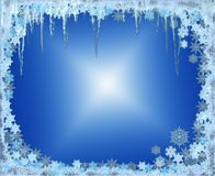Frosty Christmas frame with snowflakes and icicles Stock Image
