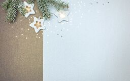 Frosty Christmas Tree Branch Decorated With Glowing Star Lights Garland. Winter Holiday Background Stock Photos