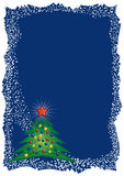 Frosty Christmas tree frame Stock Image