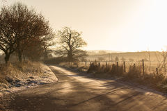 Frosty Countryside Lane Royalty Free Stock Photos