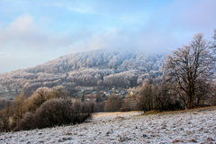 Frosty day in a hilly landscape Royalty Free Stock Photo