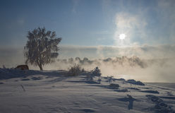 Frosty Day. In Irkutsk at the Angara stock images