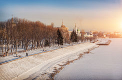 Frosty Day. With views of the monastery and the frozen river Royalty Free Stock Photography