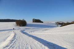 Frosty Day. Winter landscape with fields and meadows / Frosty Day Royalty Free Stock Images