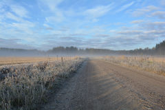 Frosty dirt road and field. Stock Image
