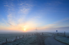 Frosty, Dutch sunrise Royalty Free Stock Image
