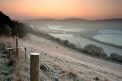 Frosty English Countryside. A frosty pre-dawn English countryside landscape in December Royalty Free Stock Image