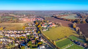 Frosty essex morning. Panoramic aerial view of essex town of Dunmow, Essex - near Chelmsford Stock Photography