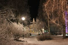 Frosty fairytale landscape. The City Park in Luleå has been transformed into a frosty fairytale landscape Stock Photos