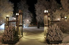 Frosty fairytale landscape. The City Park in Luleå has been transformed into a frosty fairytale landscape Royalty Free Stock Photography
