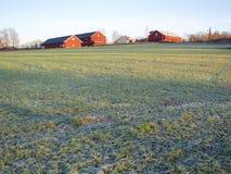 Frosty field and farm Royalty Free Stock Photos