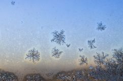 Frosty frozen patterns on the window Stock Photography