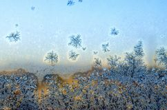 Frosty frozen patterns on the window Royalty Free Stock Images