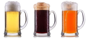 Frosty glass of beer isolated Royalty Free Stock Photos
