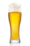 Frosty glass of beer. Frosty glass of light beer isolated on a white background Royalty Free Stock Images