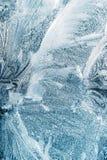 Frosty Glass Ice Background blu, bello modello naturale del ghiaccio di gelo dei fiocchi di neve Fotografia Stock Libera da Diritti