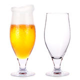 Frosty glass of light beer and empty one Stock Image