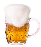Frosty glass of light beer isolated Royalty Free Stock Photos