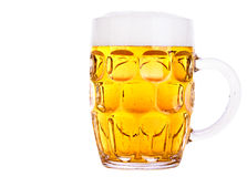 Frosty glass of light beer isolated Royalty Free Stock Photography