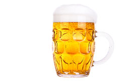 Frosty glass of light beer isolated Stock Photo