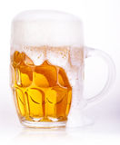Frosty glass of light beer isolated Stock Photos