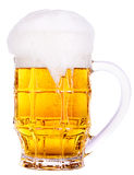Frosty glass of light beer isolated Stock Photography