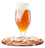 Frosty glass of light beer with pistachos Royalty Free Stock Images