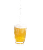 Frosty glass of light beer set isolated on a white background Stock Images